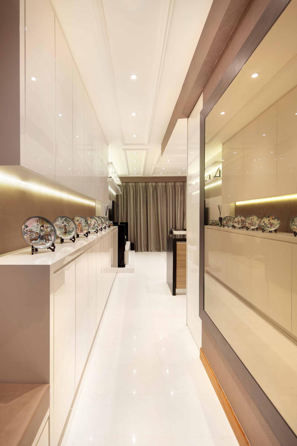 Transitional, Condo, Living Room, Shore Residence - Amber Road, Interior Designer, Space Define Interior, Mirror, Display, Concealed Lighting, Cabinet, Storage, Architrave, Recessed Lighting, Display Platform, Indoors, Interior Design