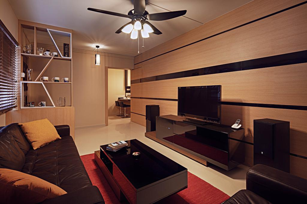 Traditional, HDB, Living Room, Toa Payoh Lor 2 (Block 141), Interior Designer, Absolook Interior Design, Hanging Ceiling Fan With Light, Red Carpet Mat, Wall Mounted Television, Television Console, Wooden Wall, Black Stripes, Large Sofa, Wall Mounted Light, Dim, Cozy, Wooden Shelves With Unqiue Design, Roll Down Curtain, Building, Housing, Indoors, Bookcase, Furniture, Couch, Chair