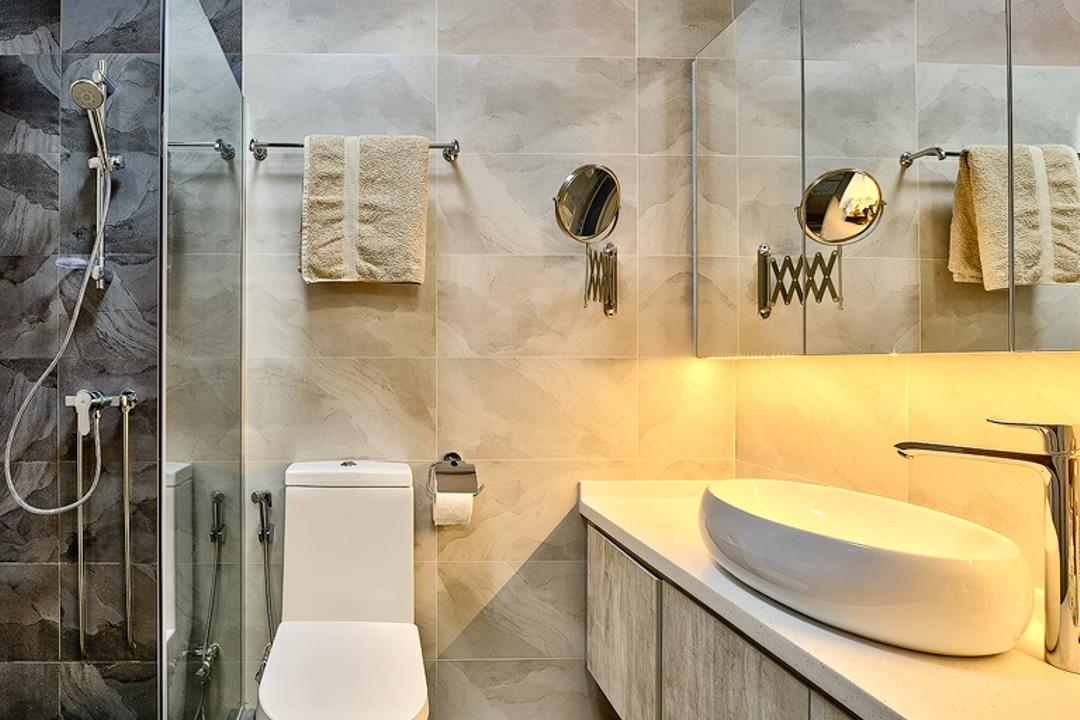 Gangsa Road (Block 163), Absolook Interior Design, Modern, Bathroom, HDB, Marble Wall, Wooden Cabinet, Ceramic Floor, Toilet, Toilet Basin, Shower, Wall Mounted Mirror, Hidden Interior Lighting, Plumbing