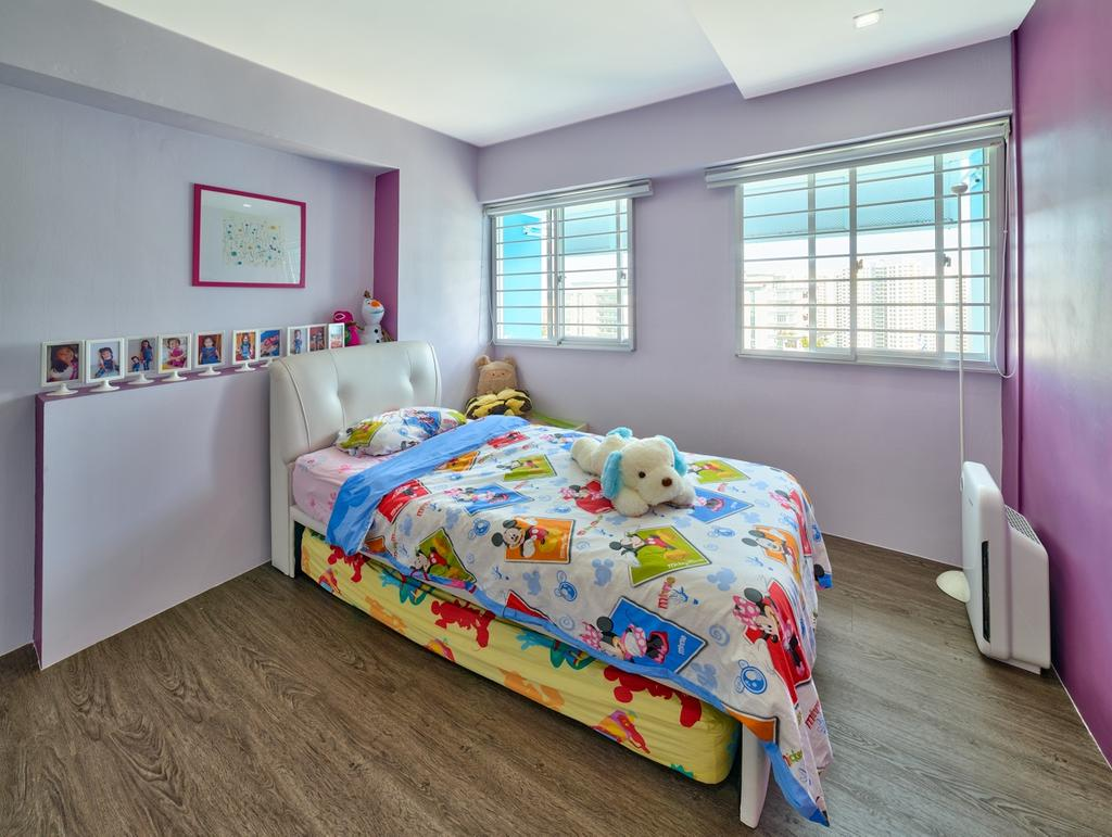 Modern, HDB, Bedroom, Gangsa Road (Block 163), Interior Designer, Absolook Interior Design, Kids, Colourful, Wooden Floor, Girls, Pink Wall, Picture Frame, Recessed Lighting, Roll Down Curtain, Colourful Bed, Child, Children, Kids Bed, Comfortable, Cozy, Bed, Furniture