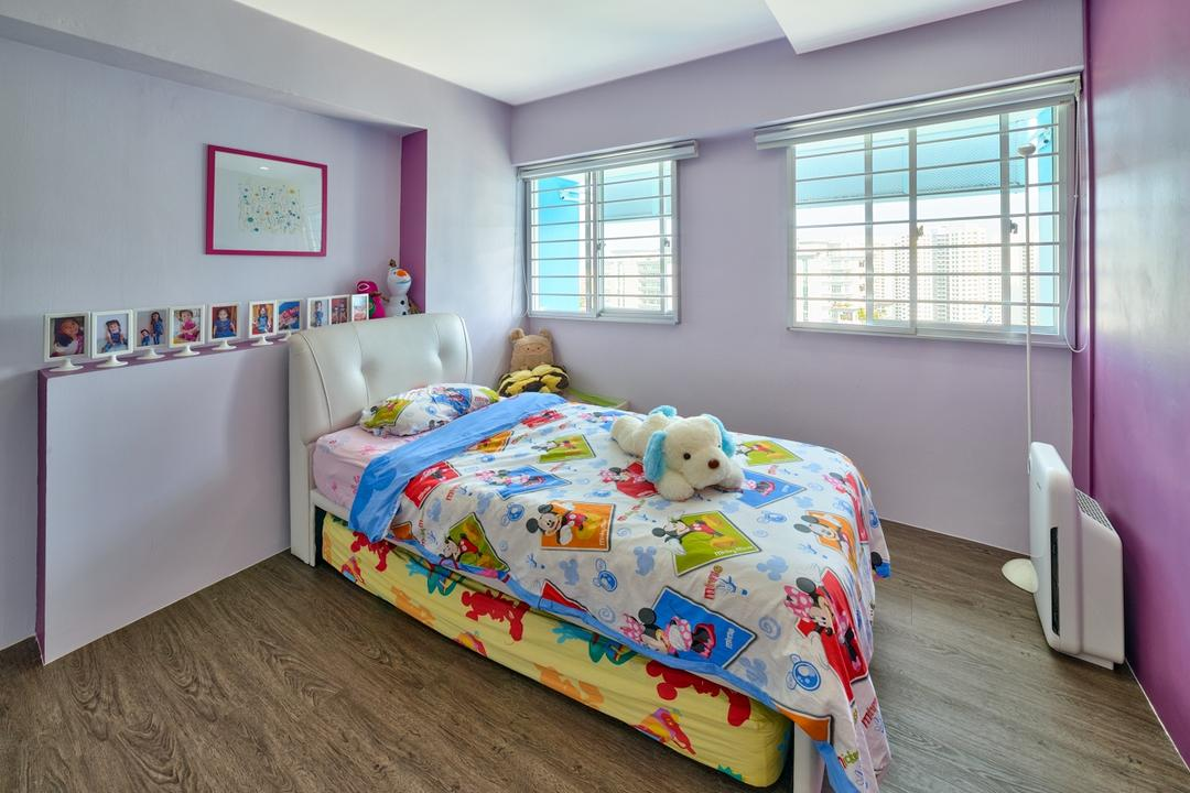 Gangsa Road (Block 163), Absolook Interior Design, Modern, Bedroom, HDB, Kids, Colourful, Wooden Floor, Girls, Pink Wall, Picture Frame, Recessed Lighting, Roll Down Curtain, Colourful Bed, Child, Children, Kids Bed, Comfortable, Cozy, Bed, Furniture