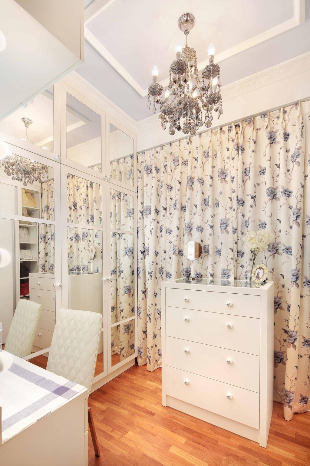 Transitional, Condo, Bedroom, Shore Residence - Amber Road, Interior Designer, Space Define Interior, Chandelier, White, Drawer, Glass Wardrobe Door, Chest Of Drawers, Wooden Flooring, Parquet, Curtain, Floral Curtains, Full Length Mirror