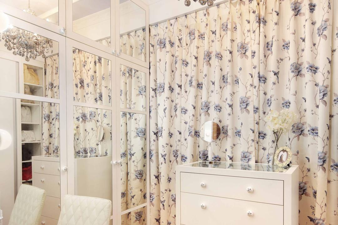 Shore Residence - Amber Road, Space Define Interior, Transitional, Bedroom, Condo, Chandelier, White, Drawer, Glass Wardrobe Door, Chest Of Drawers, Wooden Flooring, Parquet, Curtain, Floral Curtains, Full Length Mirror