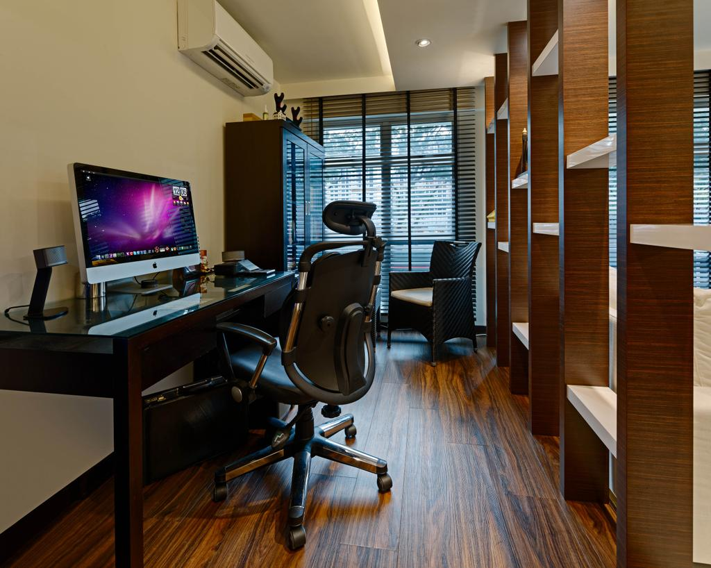 Traditional, HDB, Study, Corporation Tiara (Block 175A), Interior Designer, Absolook Interior Design, Wooden Floor, High Back Office Chair, Imac, Air Condition, Recessed Lights, Hidden Interior Light, Study Table, Roll Down Curtains, Wooden Shelf, Chair, Furniture, Hardwood, Wood