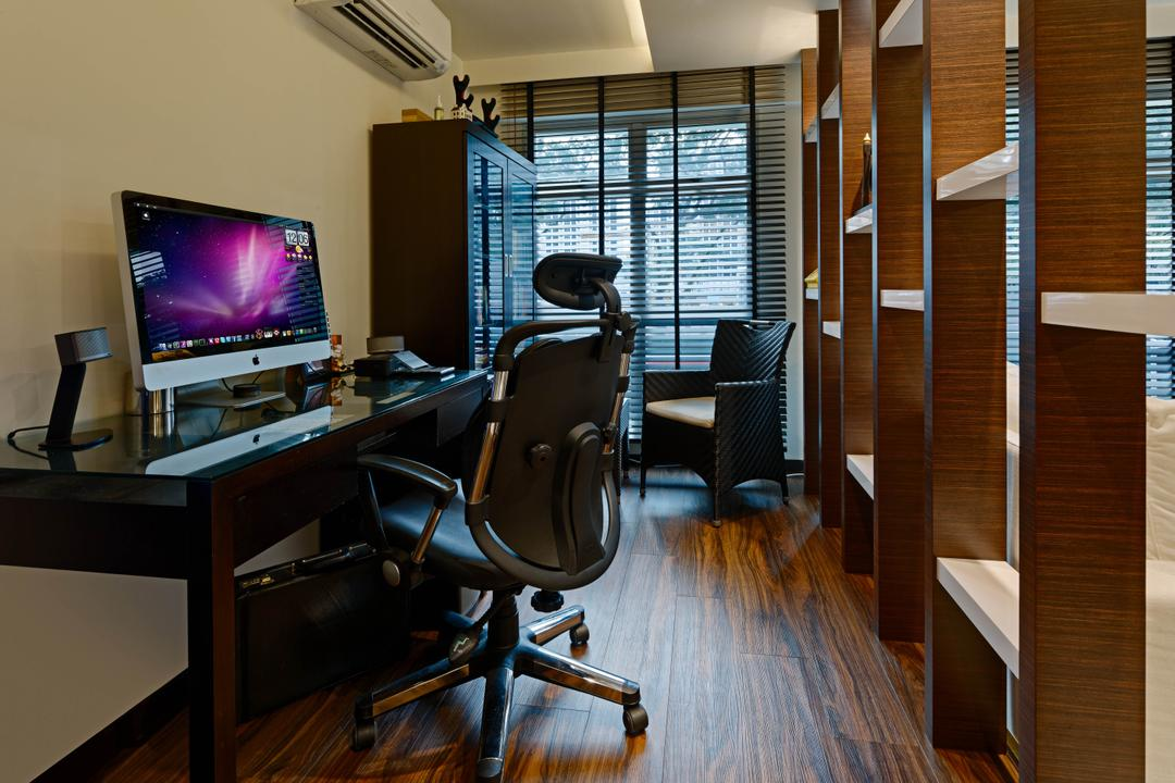 Corporation Tiara (Block 175A), Absolook Interior Design, Traditional, Study, HDB, Wooden Floor, High Back Office Chair, Imac, Air Condition, Recessed Lights, Hidden Interior Light, Study Table, Roll Down Curtains, Wooden Shelf, Chair, Furniture, Hardwood, Wood