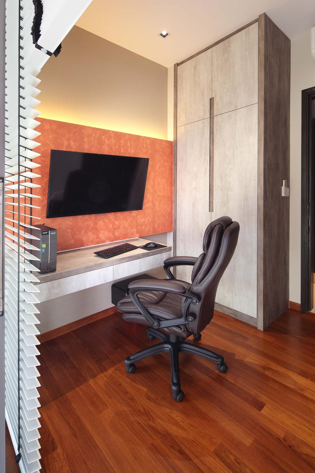 Contemporary, Condo, Study, The Vandelint, Interior Designer, Space Define Interior, Blinds, Venetian, Wall Mount Desk, Concealed Lighting, Concealed Light, Parquet, Wooden Flooring, Study Chair, Chair, Furniture, Fireplace, Hearth