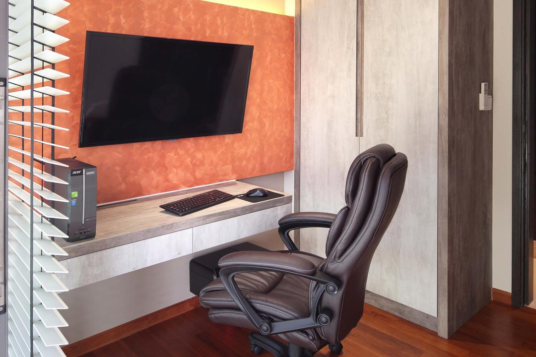 The Vandelint, Space Define Interior, Contemporary, Study, Condo, Blinds, Venetian, Wall Mount Desk, Concealed Lighting, Concealed Light, Parquet, Wooden Flooring, Study Chair, Chair, Furniture, Fireplace, Hearth
