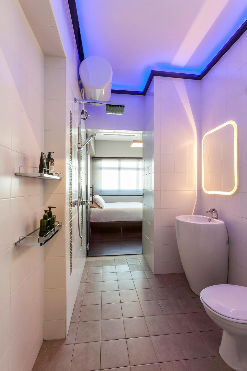Transitional, HDB, Bathroom, Boon Lay Meadow (Block 181B), Interior Designer, Absolook Interior Design, Hidden Interior Lighting, Blue Neon Lights, Ceramic Tiles, Wall Mounted Ledge, Toilet, Toilet Basin, Indoors, Interior Design, Room