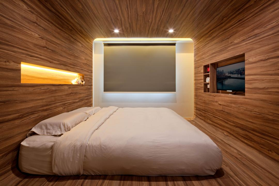 Boon Lay Grove (Block 183C), Absolook Interior Design, Traditional, Bedroom, HDB, Recessed Lighting, Wooden Floor, Wooden Wall, Built In Shelf, Wall Mounted Television, King Size Bed, Roll Down Curtains, Cozy, Comfortable, Hut, Chill, Relax, Neat, Tidy, Bed, Furniture