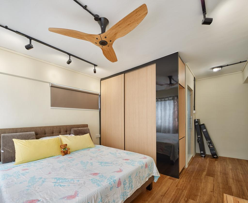 Industrial, HDB, Bedroom, Pasir Ris Street 11 (Block 185), Interior Designer, Absolook Interior Design, Haiku Fan, , Track Lights, King Size Bed, Wooden Floor, Wooden Wadrobe, Cushioned Panel