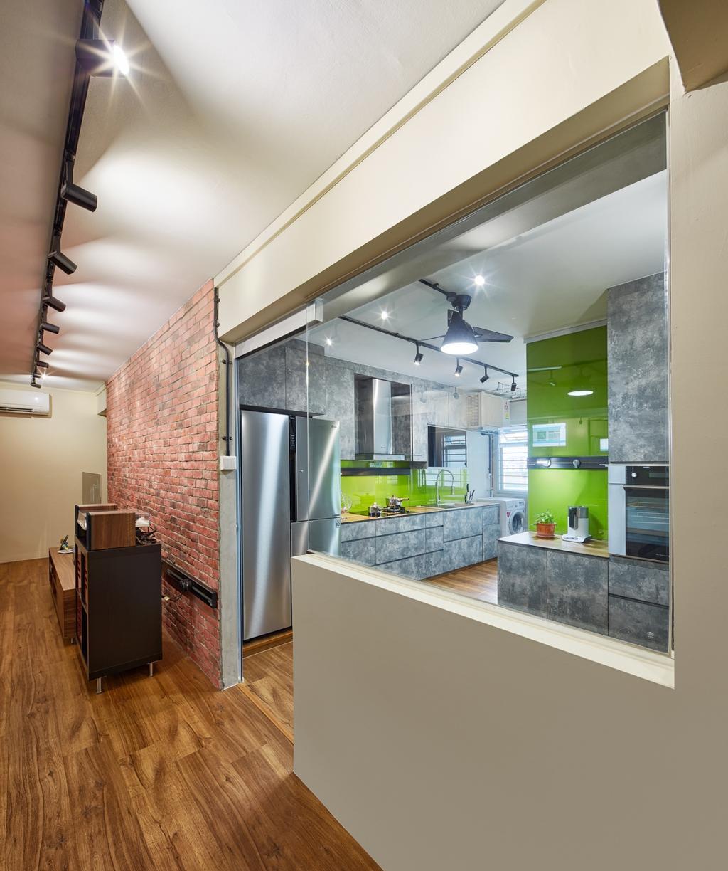 Industrial, HDB, Pasir Ris Street 11 (Block 185), Interior Designer, Absolook Interior Design, Appliance, Electrical Device, Fridge, Refrigerator