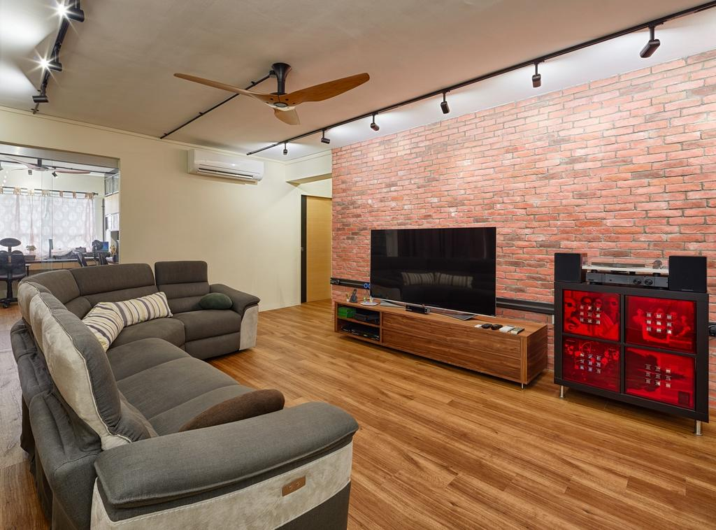 Industrial, HDB, Living Room, Pasir Ris Street 11 (Block 185), Interior Designer, Absolook Interior Design, Haiku Fan, Wooden Floor, Brick Wall, Track Light, Wall Mounted Television, Wooden Television Console, Sectional Sofa, Air Condition, Wooden Door, Spacious, Couch, Furniture