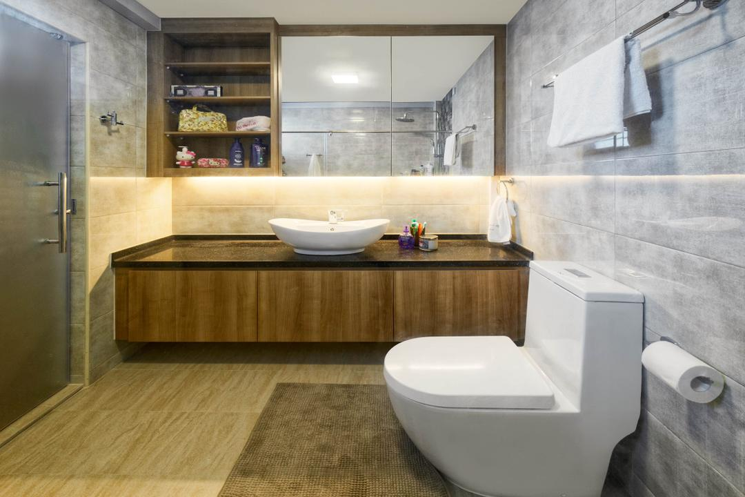 Punggol Central (Block 192), Absolook Interior Design, Transitional, Bathroom, HDB, Wooden Floor, Marble Wall, Toilet, Wall Mounted Mirror, Wall Mounted Cabinet, Wooden Toilet Cabinet, Toilet Sink, Indoors, Interior Design, Room