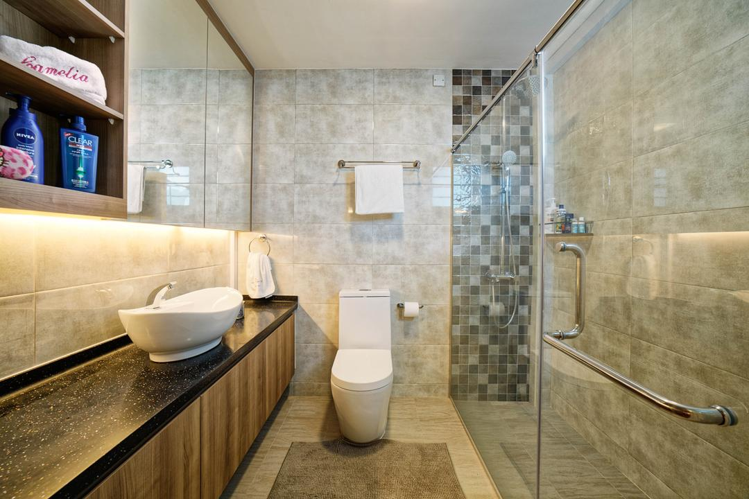 Punggol Central (Block 192), Absolook Interior Design, Transitional, Bathroom, HDB, Marble Floor, Marble Wall, Wall Mounted Mirror, Wall Mounted Cabinet, Wooden Toilet Cabinet, Toilet, Toilet Sink, Shower, Indoors, Interior Design, Room