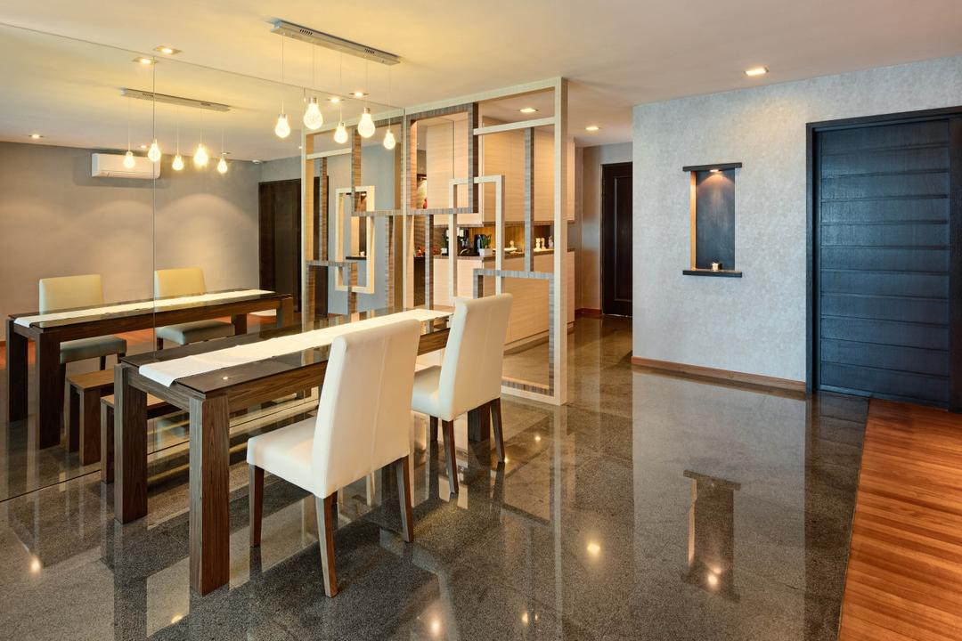 Punggol Central (Block 192), Absolook Interior Design, Transitional, Dining Room, HDB, Marble Floor, Recessed Lights, Hanging Light, Polar White Dining Chair, Air Condition, Wooden Dining Table With Marble Top, Chair, Furniture, Dining Table, Table, Indoors, Interior Design, Room, Flooring