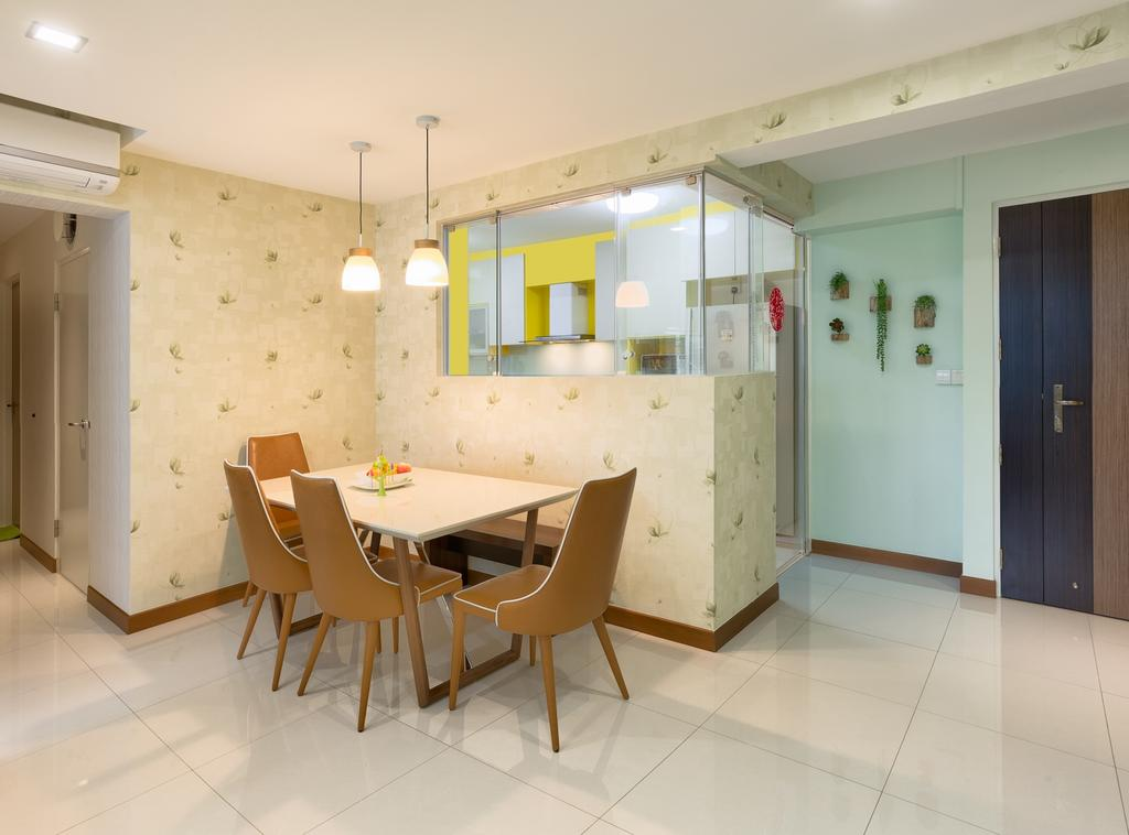 Transitional, HDB, Dining Room, Yishun Natura (Block 342A), Interior Designer, Absolook Interior Design, Hanging Lights, Wooden Dining Chair, Dining Table, Ceramic Floor, Air Conditioning, Recessed Lights, Wall With Patterns, Glass Panels, Pendant Lights, Furniture, Table, Chair, Plywood, Wood