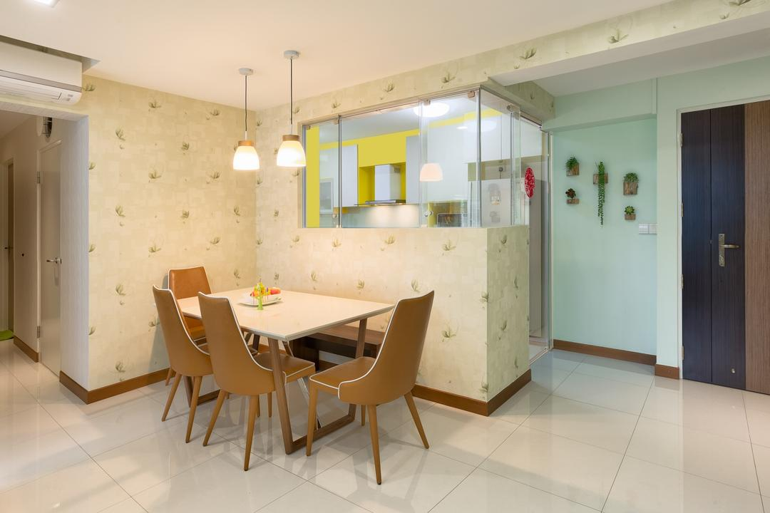 Yishun Natura (Block 342A), Absolook Interior Design, Transitional, Dining Room, HDB, Hanging Lights, Wooden Dining Chair, Dining Table, Ceramic Floor, Air Conditioning, Recessed Lights, Wall With Patterns, Glass Panels, Pendant Lights, Furniture, Table, Chair, Plywood, Wood