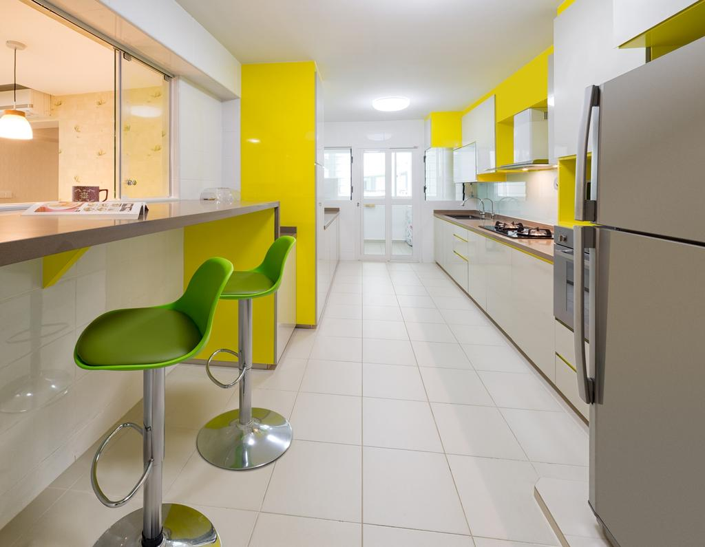 Transitional, HDB, Kitchen, Yishun Natura (Block 342A), Interior Designer, Absolook Interior Design, Ceramic Floor Tiles, Ceiling Mounted Light, Refrigerator, Single Leg Stool, Wall Mounted Wooden Table, Polar White Kitchen Cupboards, Chair, Furniture
