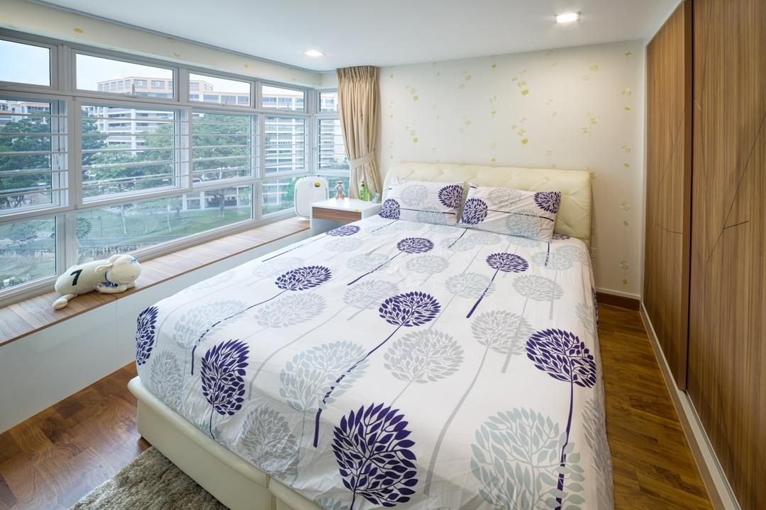 Yishun Natura (Block 342A), Absolook Interior Design, Transitional, Bedroom, HDB, King Size Bed, Swing Curtain, Recessed Lighting, Wooden Floor, Wooden Wadrobe, Home Decor, Linen, Tablecloth, Bed, Furniture