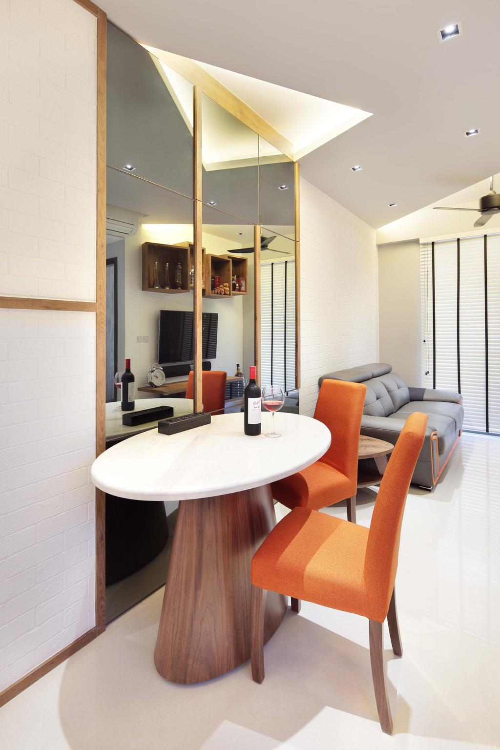 Contemporary, Condo, Dining Room, The Vandelint, Interior Designer, Space Define Interior, Concealed Lighting, Mushroom Table, White Oval Table, Mirror, Orange Chair, Recessed Lighting, False Ceiling, Venetian Blinds, Chair, Furniture, Dining Table, Table, Indoors, Interior Design, Room