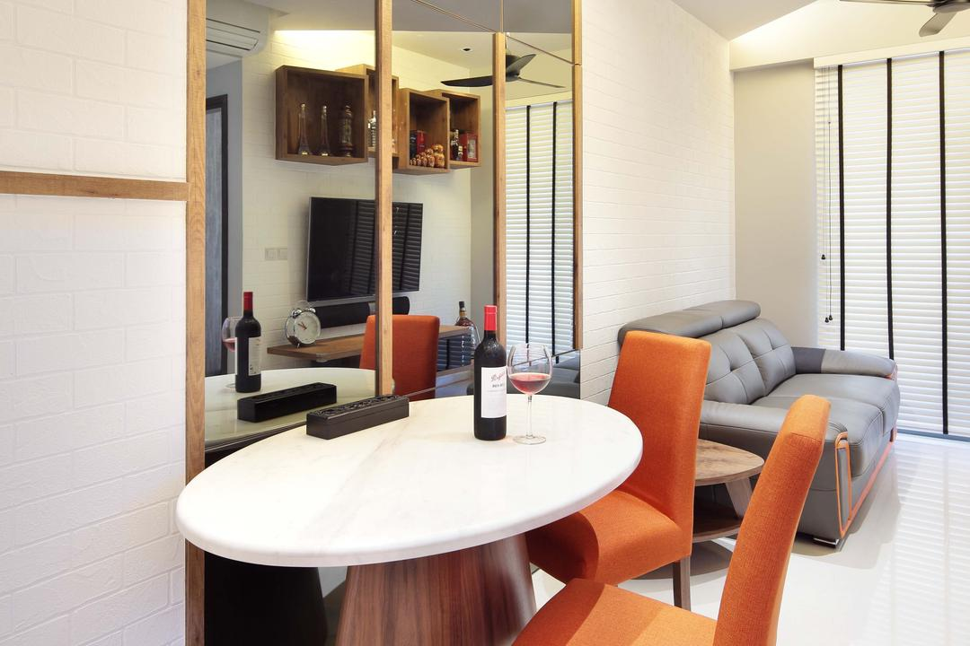 The Vandelint, Space Define Interior, Contemporary, Dining Room, Condo, Concealed Lighting, Mushroom Table, White Oval Table, Mirror, Orange Chair, Recessed Lighting, False Ceiling, Venetian Blinds, Chair, Furniture, Dining Table, Table, Indoors, Interior Design, Room