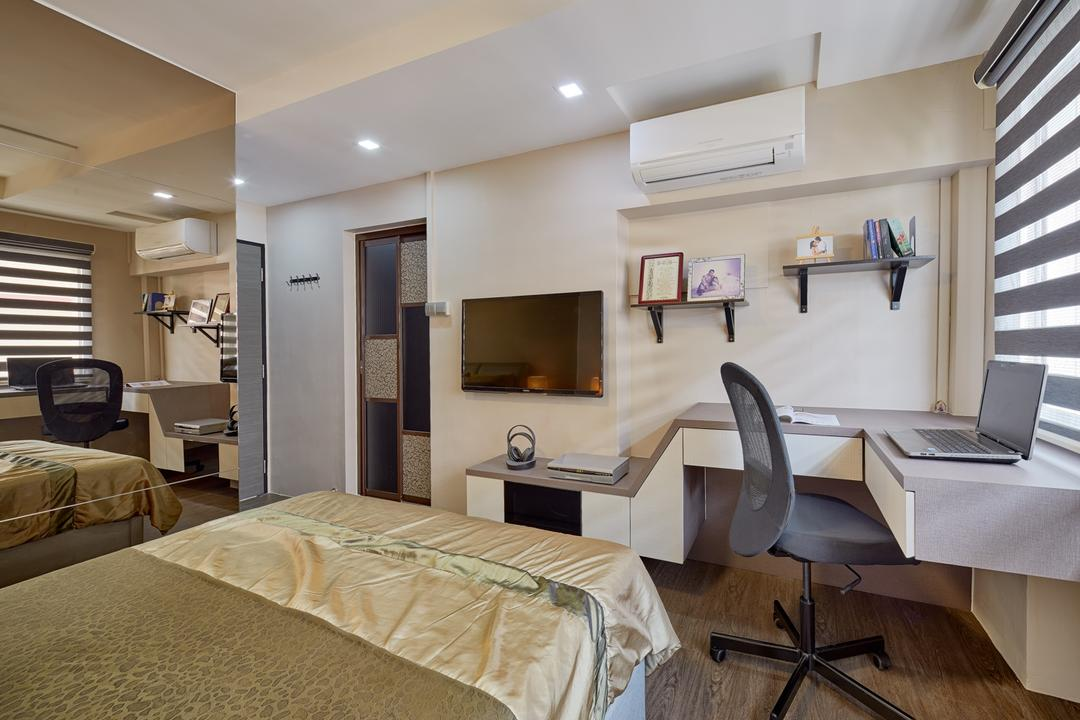 Choa Chu Kang Street 62 (Block 606), Absolook Interior Design, Transitional, Bedroom, HDB, Low Back Office Chair, Air Condition, Recessed Lights, Wall Mounted Ledge, Wall Mounted Table, King Size Bed, Wall Mounted Television, Roll Down Curtains, Mirror, Wooden Floor, Bed, Furniture