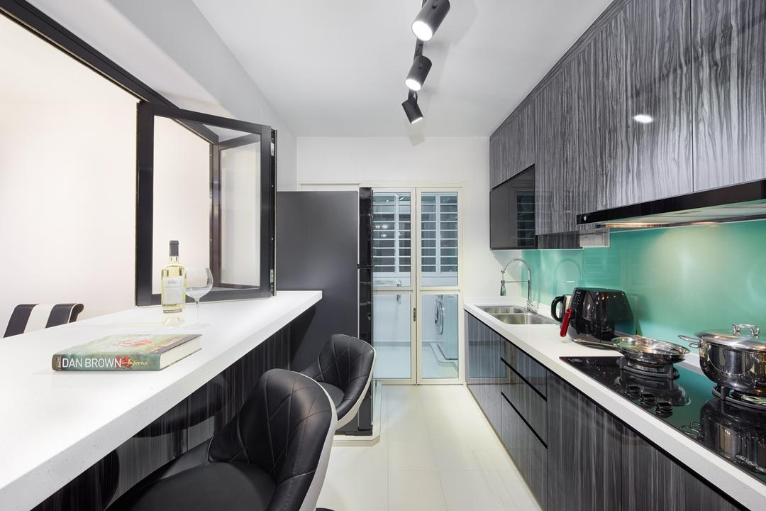 Waterway Sunbeam (Block 663A), Absolook Interior Design, Traditional, Kitchen, HDB, Track Lights, Cushioned Stool, Marble Kitchen Cabinet, Wall Mounted Marble Kitches Cabinet, Kitchen Basin, Kitchen Stove, Refrigetrator, Glass Panels, Furniture, Mattress, Chair, Door, Sliding Door