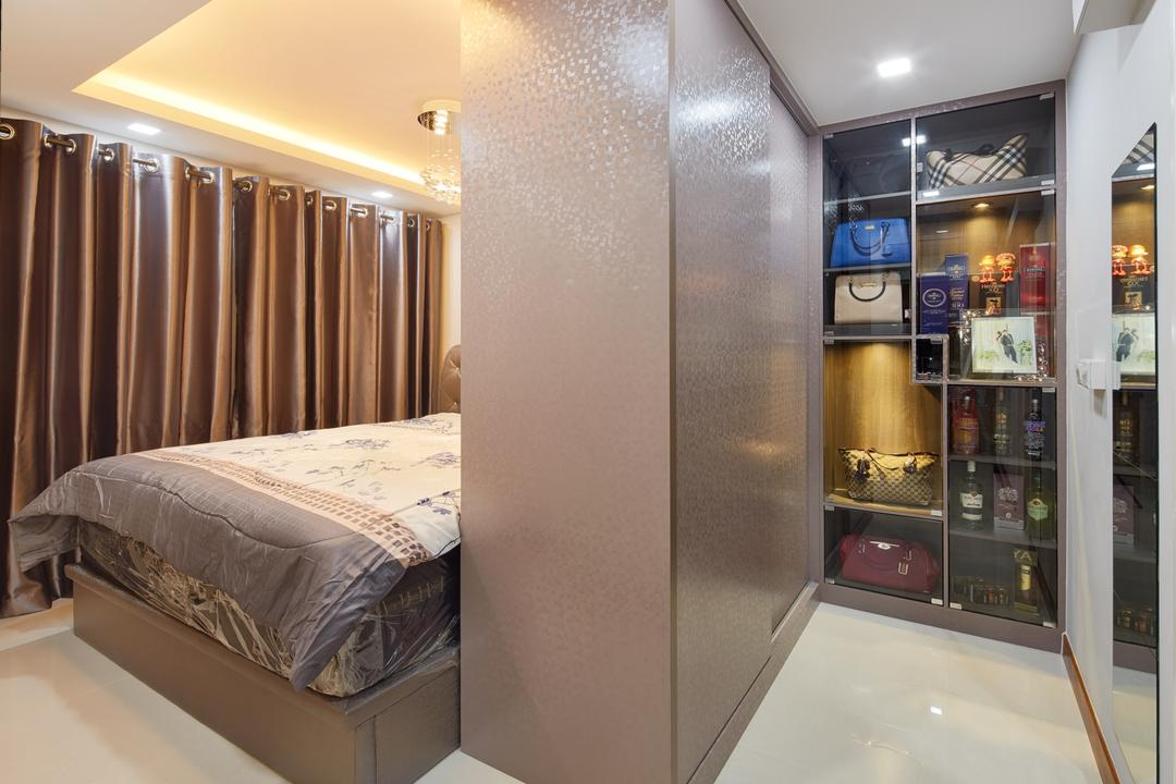 Waterway Sunbeam (Block 663A), Absolook Interior Design, Traditional, Bedroom, HDB, King Size Bed, Large Cabinet, Marble Floor, Brown Curtain, Recessed Lights, Hidden Interior Lighting, Marble Wall, Sling Curtain, Mirror