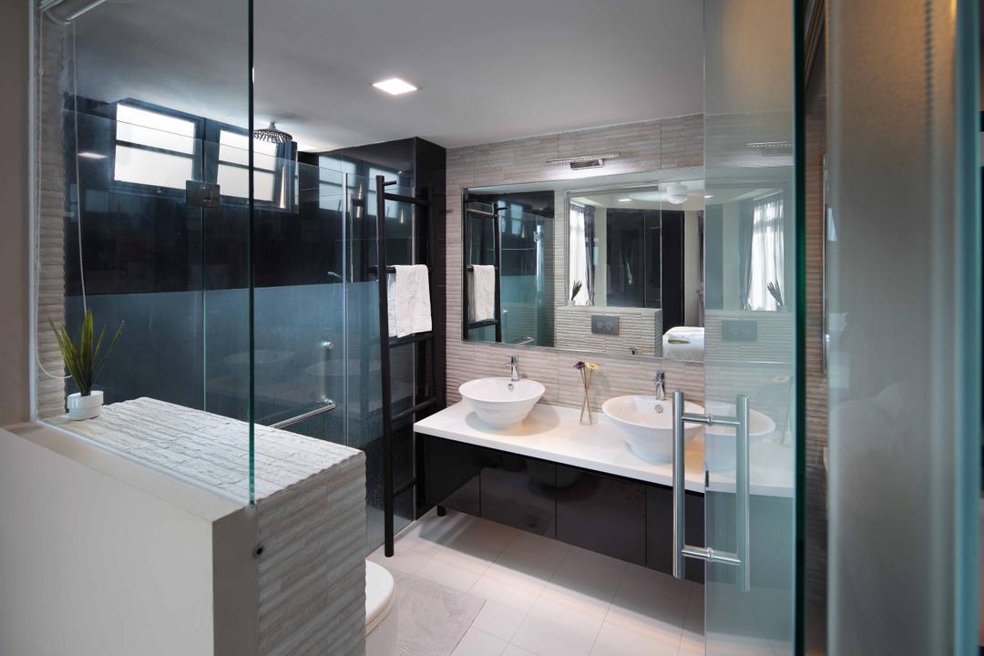 Sanctuary Green - Tanjong Rhu, Space Define Interior, Modern, Condo, Glas Shower Door, Vessel Sink, Double Sink, Recessed Lighting, Glass Door, Bathroom Tiles, Sink, Bathroom, Indoors, Interior Design, Room