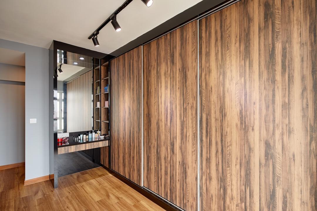 Waterway Woodcress (Block 666B), Absolook Interior Design, Scandinavian, Bedroom, HDB, Wooden Wadrobe, , Wooden Floor, Mirror, Wooden Shelve, Wall Mounted Wooden Ledge, Track Lights, Flooring