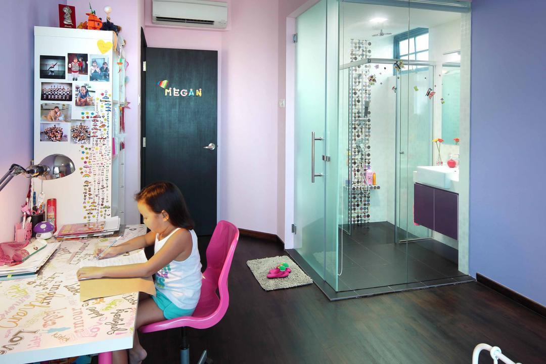 Sanctuary Green - Tanjong Rhu, Space Define Interior, Modern, Condo, Ceiling Light, Glass Door, Study Desk, Pink Chair, Children Room, Kids Room, Pruple Wall, Hanging Light, Mosaic Tiles, Human, People, Person