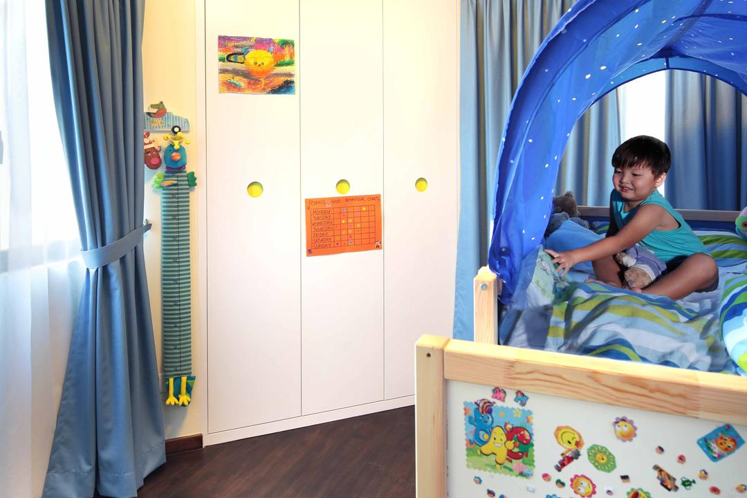 Sanctuary Green - Tanjong Rhu, Space Define Interior, Modern, Condo, Ceiling Light, Sun, Wall Built In Wardrobe, Curtain, Parquet, Wooden Flooring, Tent, Kids Room, Childrens Room, Human, People, Person