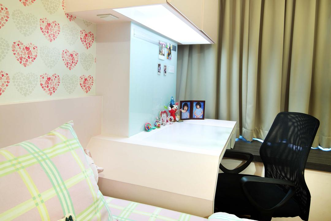 City Square Residence, Space Define Interior, Modern, Bedroom, Condo, Wallpaper, Pale Pink, Curtains, Pink Bedding, Pink Study Desk, Pink Cabinet, Black Swivel Chair, Swivel Chair, Black, Study Desk Lights, Chair, Furniture