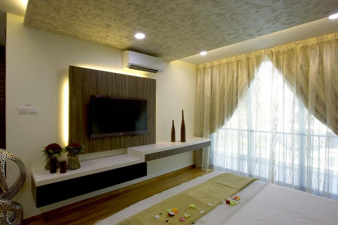 Jalan Kechubong, Yujia Interior Design, Modern, Traditional, Bedroom, Landed, Tv Feature Wall, Carpentry, Sling Curtain, Masterbed, Decoration, False Ceiling, Wooden Flooring, Modern Contemporary Bedroom, King Size Bed, Wooden Panel, Recessed Lights, Wall Mounted Television, Hidden Interior Lighting