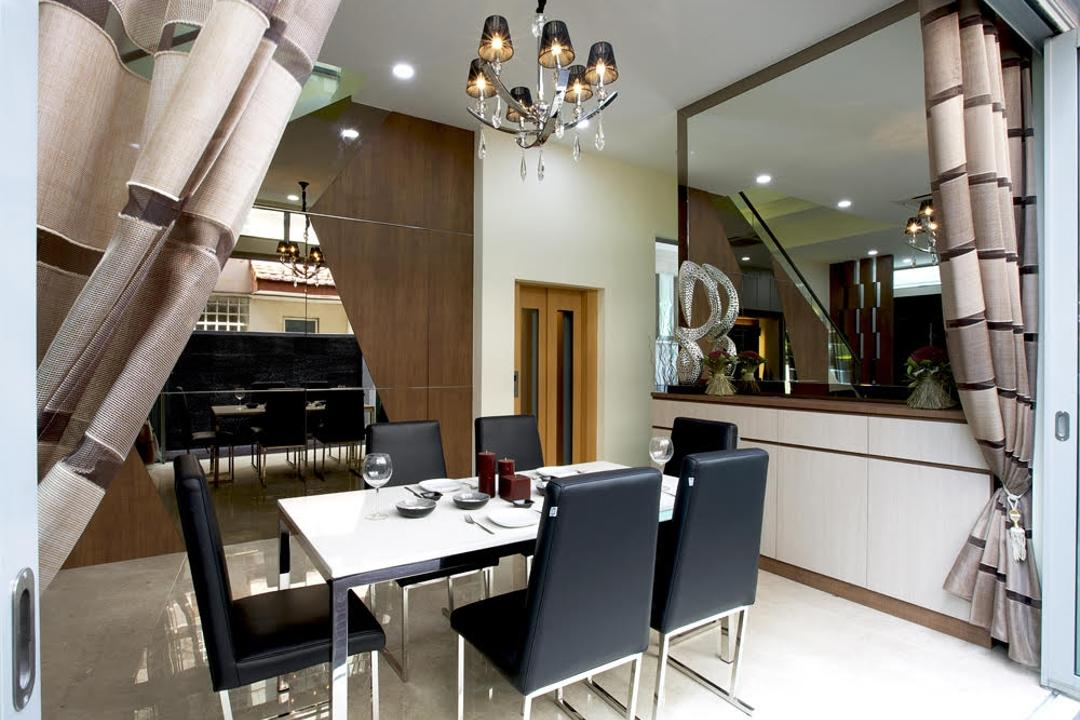 Jalan Kechubong, Yujia Interior Design, Modern, Traditional, Dining Room, Landed, Modern Dining, Dining Table, Dining Chair, Classy Chandelier, Elevator, Lift, Large Mirror, Modern Contemporary Dining Room, Chandelier, Black Dining Chair, White Dining Table, Recessed Lights, Sling Curtain