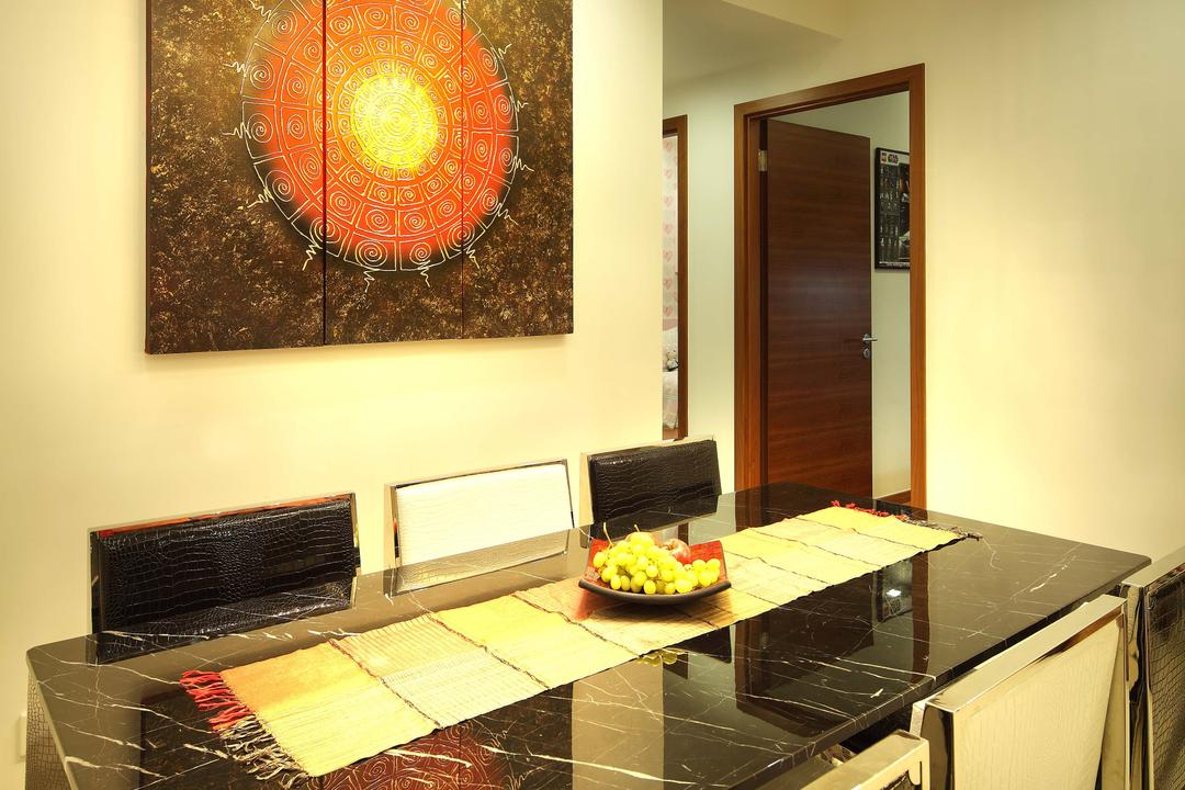 City Square Residence, Space Define Interior, Modern, Dining Room, Condo, Hanging Light, Pendant Light, Wallart, Concealed Lighting, Black Dining Table, Black Dining Chairs, Appliance, Electrical Device, Oven, Indoors, Interior Design, Room