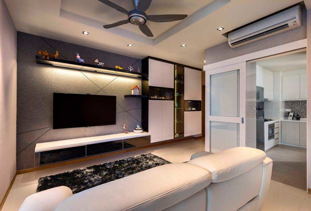 Modern, Condo, Living Room, The Canopy, Interior Designer, Space Define Interior, White Sofa, Sliding Door, Wall Mount Shelf, Feature Wall, Concealed Lighting, False Ceiling, Tv Console, Rug, Recessed Lighting, Indoors, Interior Design, Couch, Furniture