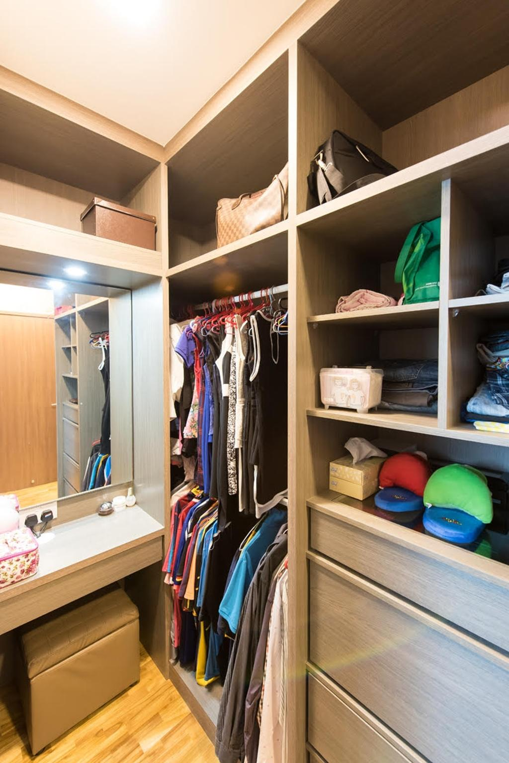 Modern, Condo, Canberra Road, Interior Designer, Yujia Interior Design, Traditional, Wardrobe, Storage, Mirror, Make Up Table, Dress Table, Carpentry, Built In Vanity