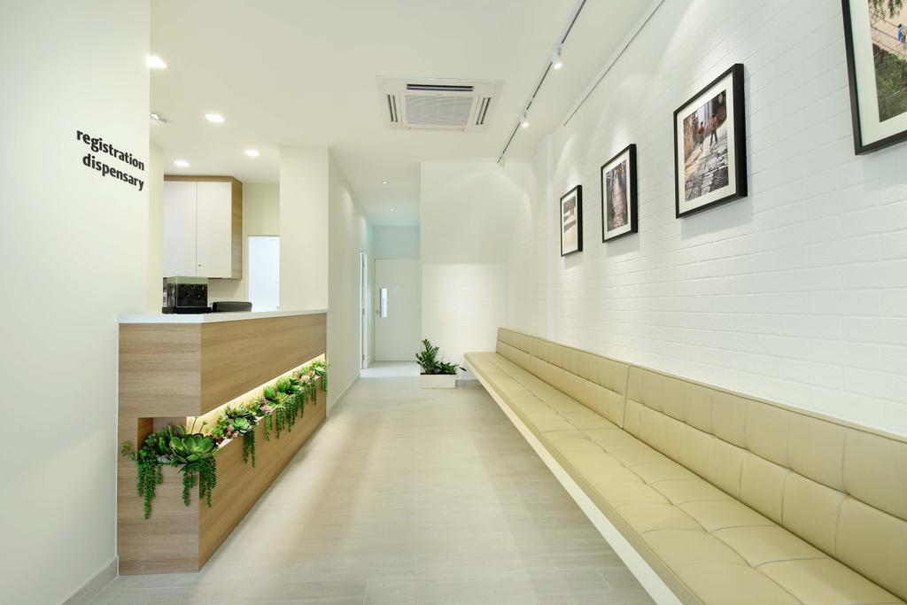 Marine Parade Central - Clinic, Commercial, Interior Designer, Space Define Interior, Scandinavian, Long Bench, Cushioned, Wood Laminate, Wall Frame, Track Lighting, Track Light, Trackie, Brick Wall, Recessed Lighting, Corridor