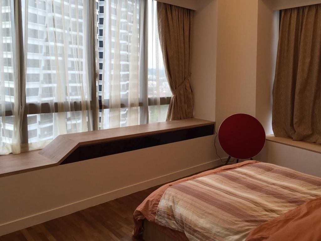 Modern, Condo, Bedroom, Leedon Heights, Interior Designer, Yujia Interior Design, Contemporary, Window Bay Seat, Wooden Flooring, Sling Curtain