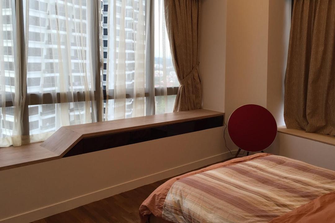 Leedon Heights, Yujia Interior Design, Modern, Contemporary, Bedroom, Condo, Window Bay Seat, Wooden Flooring, Sling Curtain