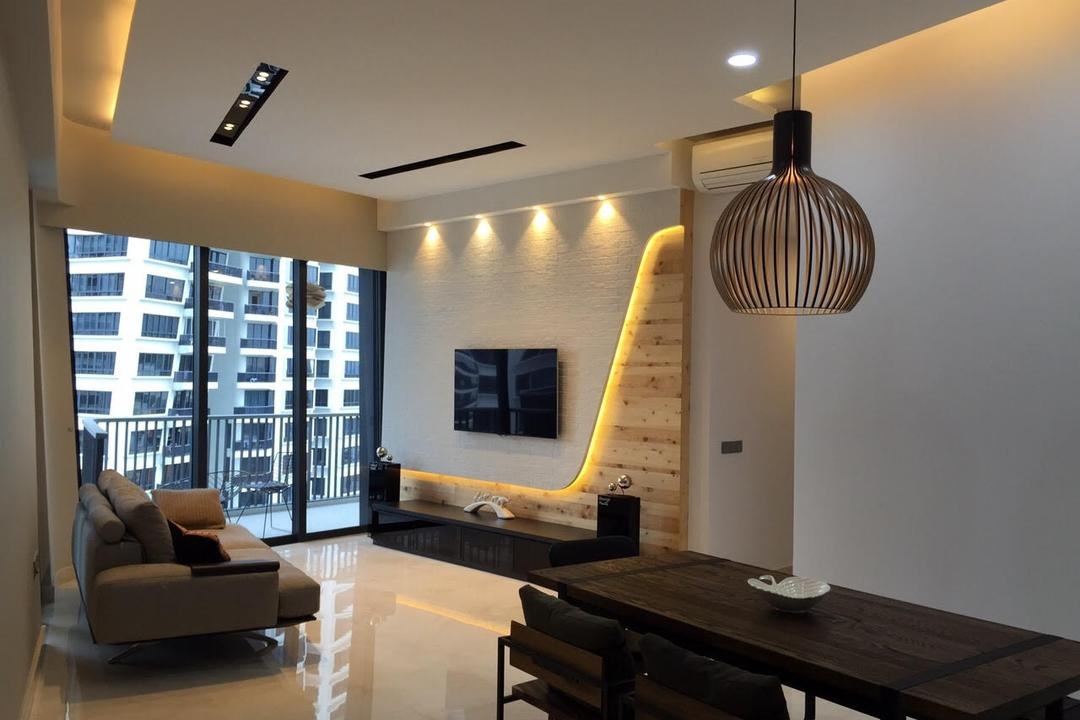 Leedon Heights, Yujia Interior Design, Modern, Contemporary, Living Room, Condo, Tv Feature Wall, Pendant Light, Marble Flooring, False Ceiling, Downlights, Balcony, White Wall, Industrial Table, Industrial Chairs, Dove Lighting, Modern Contemporary Living Room, Track Lights, Hidden Interior Lighing, Television Console