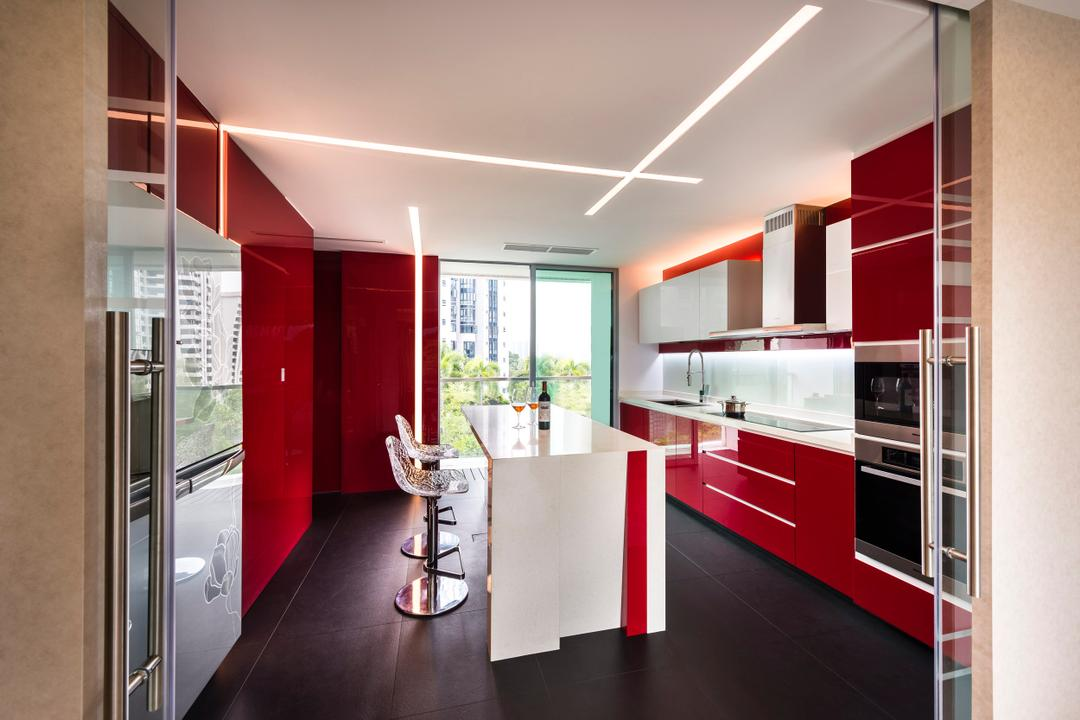 Meyer, Space Vision Design, Traditional, Kitchen, Condo, Red, Cabinets, High Bar Stool, Glass Door, Furniture, Reception