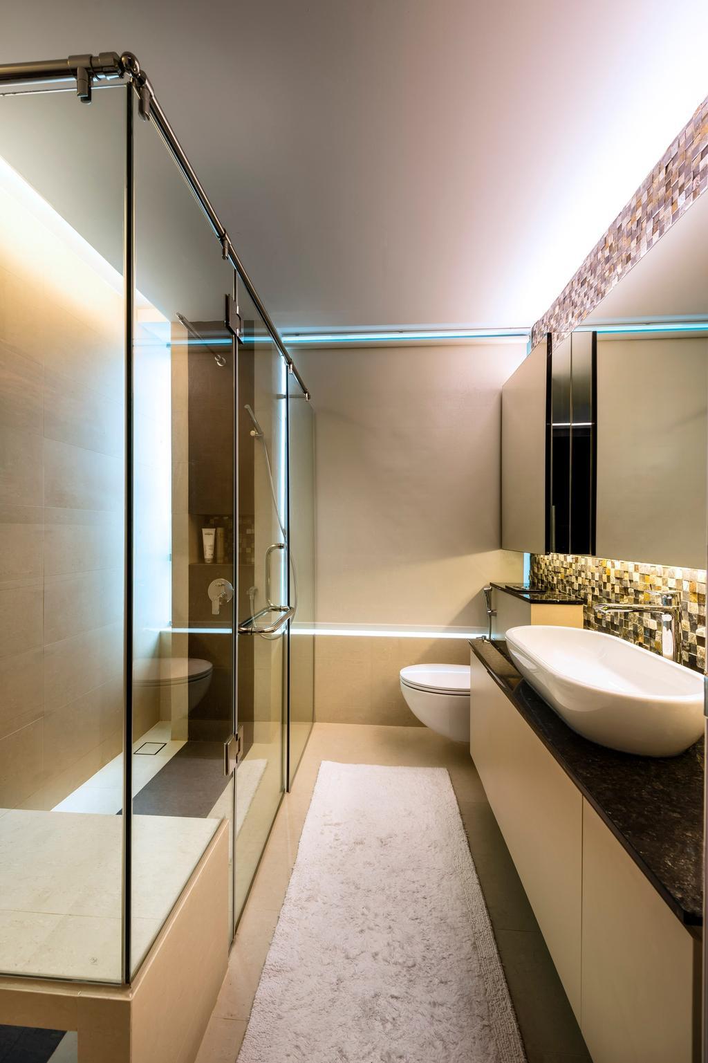 Traditional, Condo, Bathroom, Meyer, Interior Designer, Space Vision Design, Glass, Door, Shower, Toilet, Indoors, Interior Design, Room