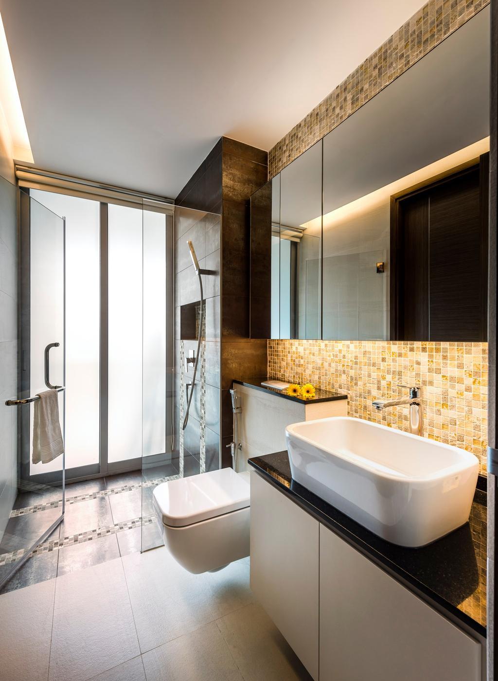 Traditional, Condo, Bathroom, Meyer, Interior Designer, Space Vision Design, Wall Mount Toilet Bowl, White, Sink, Basin, Indoors, Interior Design, Room