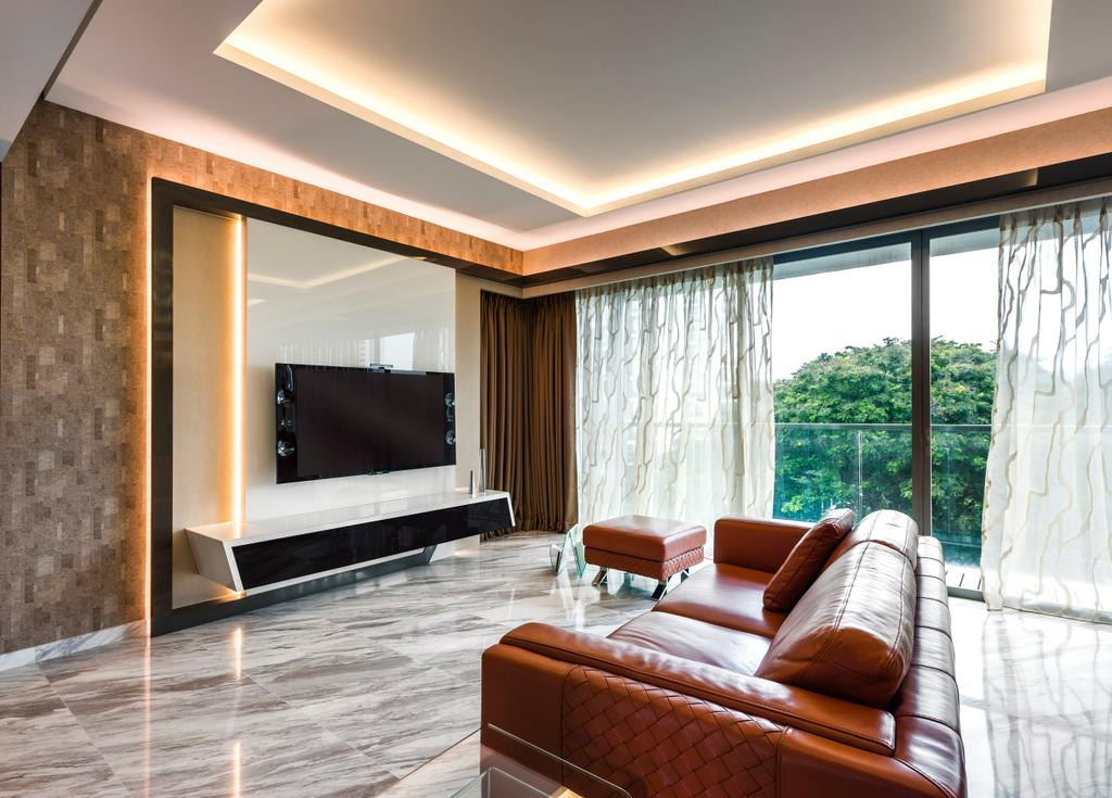 Traditional, Condo, Living Room, Meyer, Interior Designer, Space Vision Design, Concealed Lighting, Glossy Floor, Wall Mount Tv Shelf, Tv Console, Chair, Furniture, Electronics, Entertainment Center, Home Theater, Couch, Indoors, Interior Design