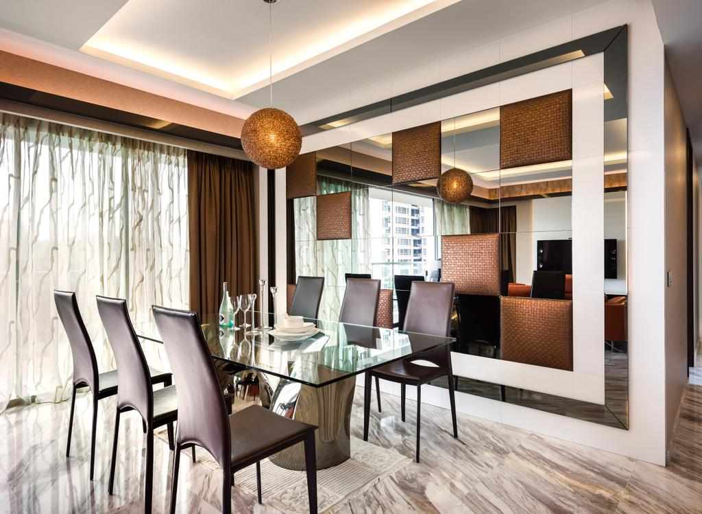 Traditional, Condo, Dining Room, Meyer, Interior Designer, Space Vision Design, Hanging Lights, Pendant Light, Glass Table, Mirror, Chair, Furniture, Indoors, Interior Design, Room, Dining Table, Table