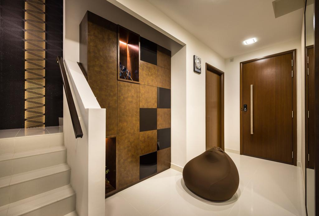 Eclectic, Landed, Estri Villas, Interior Designer, Space Vision Design, Stairway, Brown, Indoors, Interior Design, Banister, Handrail, Staircase, Clothing, Cowboy Hat, Hat, Bathroom, Room