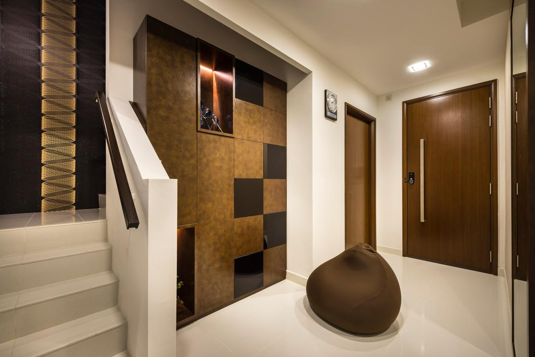 Estri Villas, Space Vision Design, Eclectic, Landed, Stairway, Brown, Indoors, Interior Design, Banister, Handrail, Staircase, Clothing, Cowboy Hat, Hat, Bathroom, Room