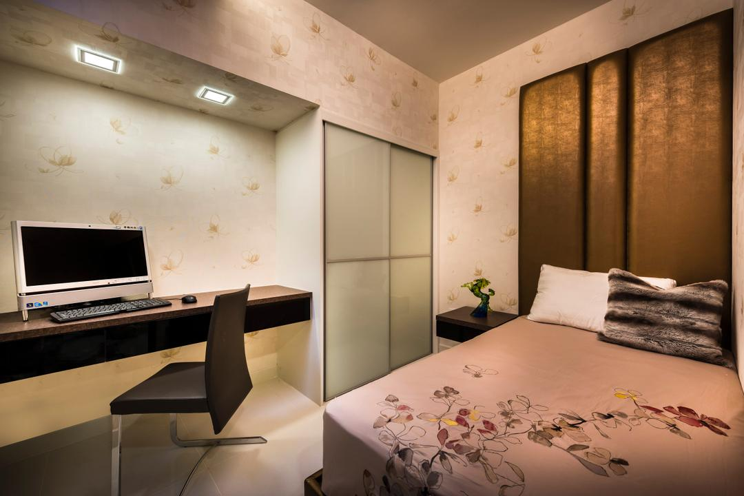 Estri Villas, Space Vision Design, Eclectic, Bedroom, Landed, Wall Mount Desk, Study Desk, Indoors, Interior Design, Chair, Furniture, Bed